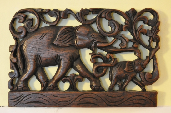 (1) Wood Elephant Decor - Chan's Guesthouse