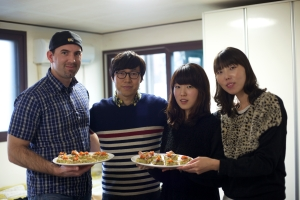 Jin, Yooni, Seong-li and myself with sliced Tortilla Español