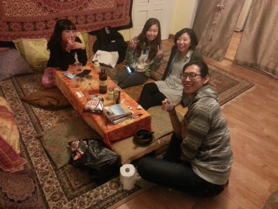 Drinking Port with Mr. Chan, Michelle, and two new friends at Chan's Guesthouse - Busan, South Korea