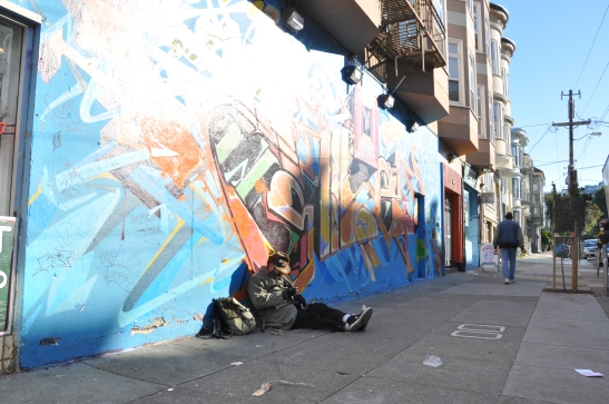 Traveler at ease on Haight Street, San Francisco