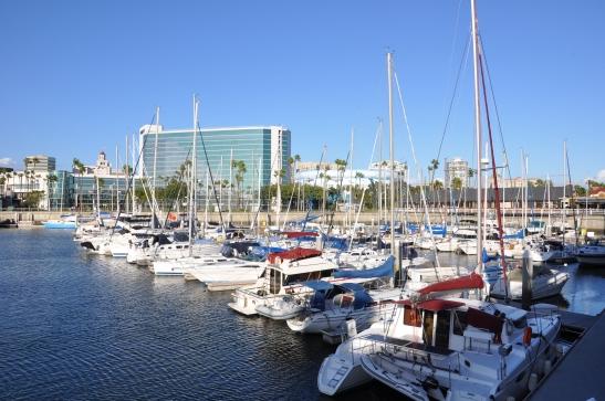 Long Beach Marina with bright blue sky