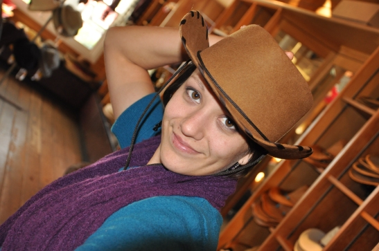 Hey there, cowgirl! My friend Brandy with cowboy hat.