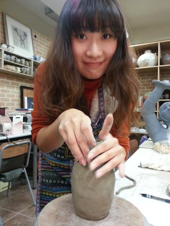 Michelle enjoying making ceramics