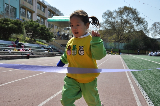 Kindergarten Student wins her race