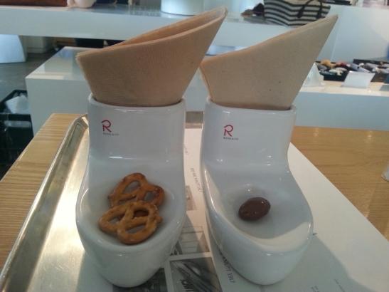 Toilet-shapped porcelain condiment holders