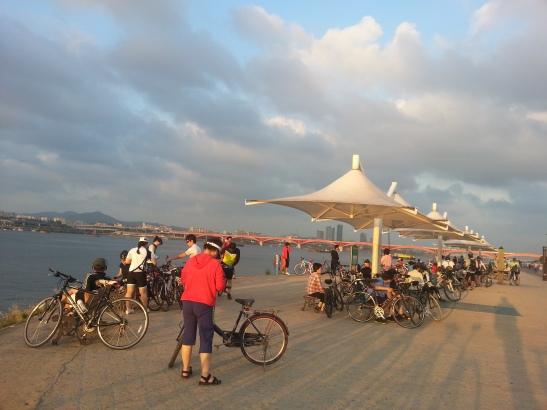 Bikers along the Han River