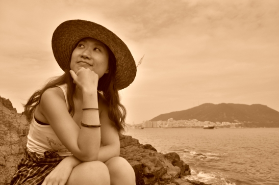 Michelle Ponders along the rocky cliffs not far from Songdo Beach in Busan.
