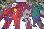 (18) Comic Book Hero Wall Art - Hapjeong, Seoul