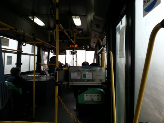 Inside my morning bus. The bus driver could hardly see while driving 20mph.